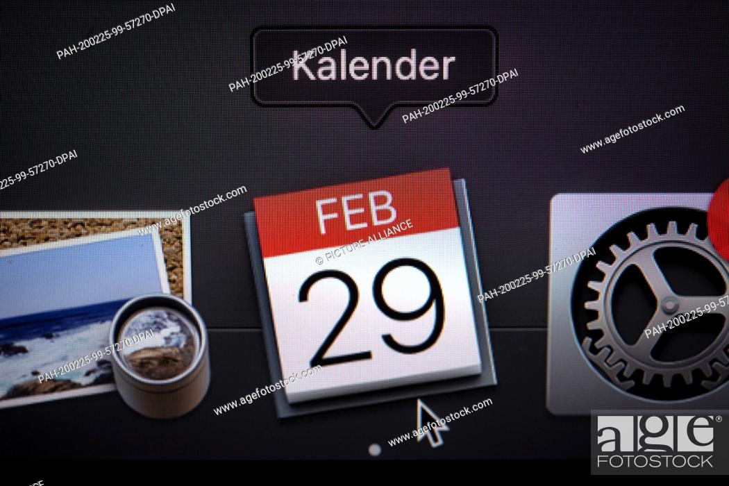Stock Photo: 21 February 2020, Bremen: ILLUSTRATION - The calendar on the monitor of a laptop shows the date February 29. It's a fancy date: every four years the 29th of.