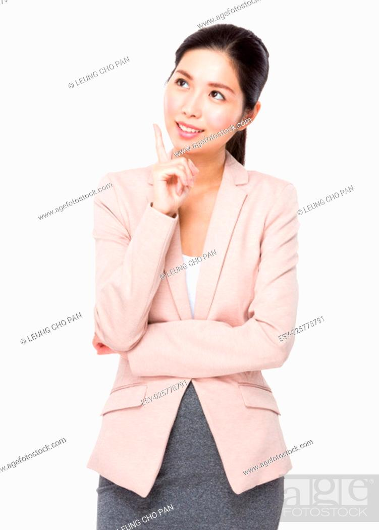 Stock Photo: Young Businesswoman think of idea.