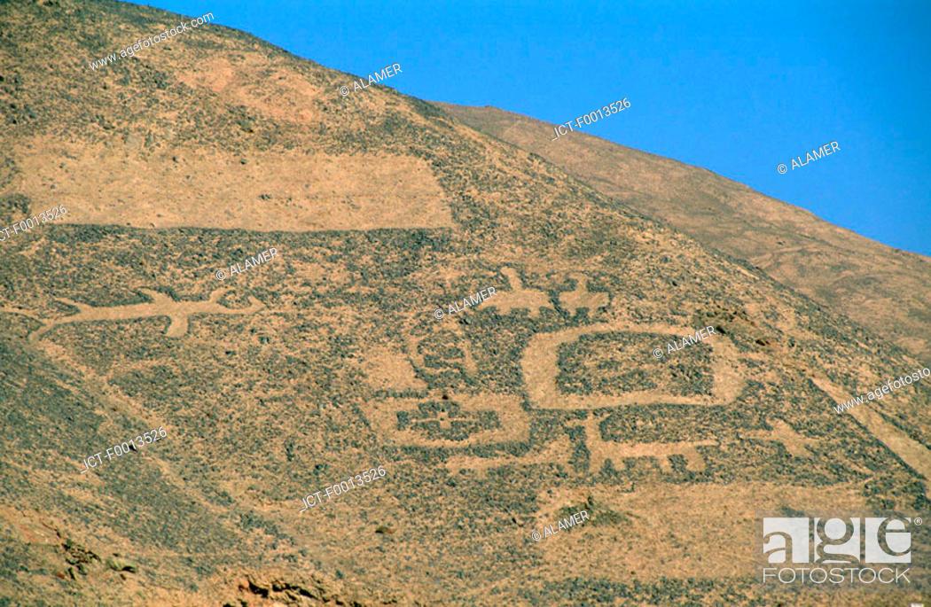 Stock Photo: Chile, San Pedro de Atacama, petroglyphs.