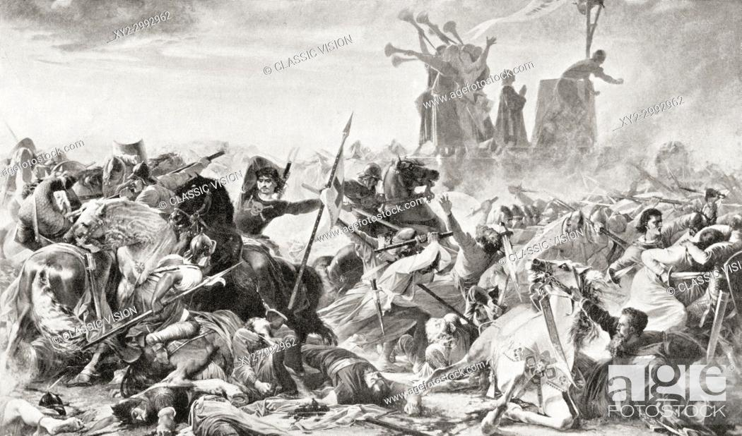 Stock Photo: The Battle of Legnano, May 29, 1176, fought between the forces of the Holy Roman Empire, led by Emperor Frederick Barbarossa, and the Lombard League.
