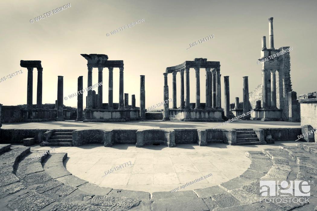 Stock Photo: Tunisia, Central Western Tunisia, Dougga, Roman-era city ruins, Unesco site, Theater.