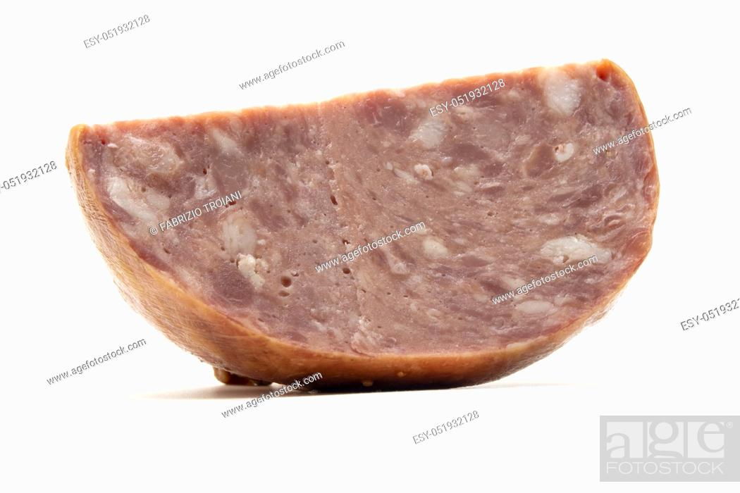Stock Photo: Belarusian smoked ham on a white background.