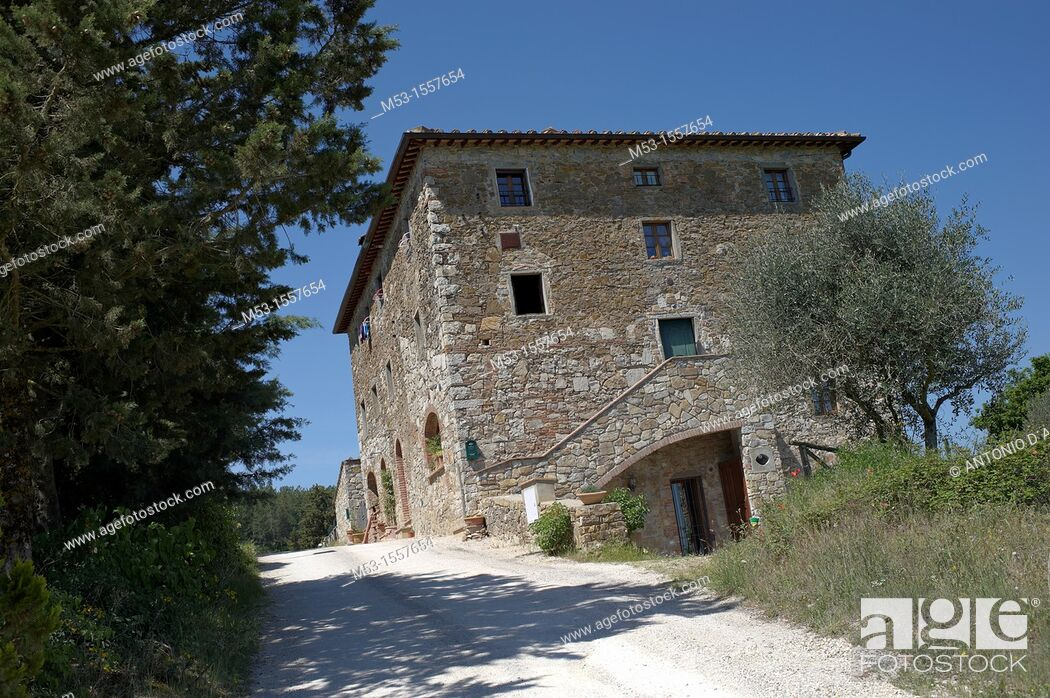 Stock Photo: Country home in the village of Tregole  Province of Siena  Tuscany  Italy.