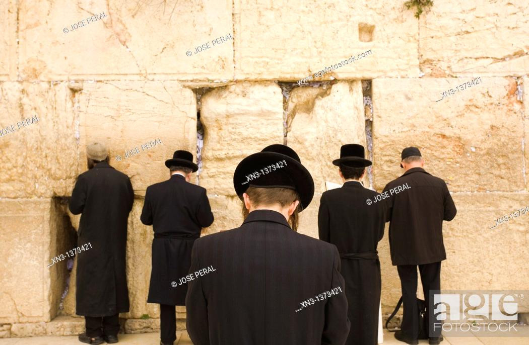 Stock Photo: Jews praying, Western Wall, Wailing Wall, Old city, Jerusalem, Israel, Middle East.