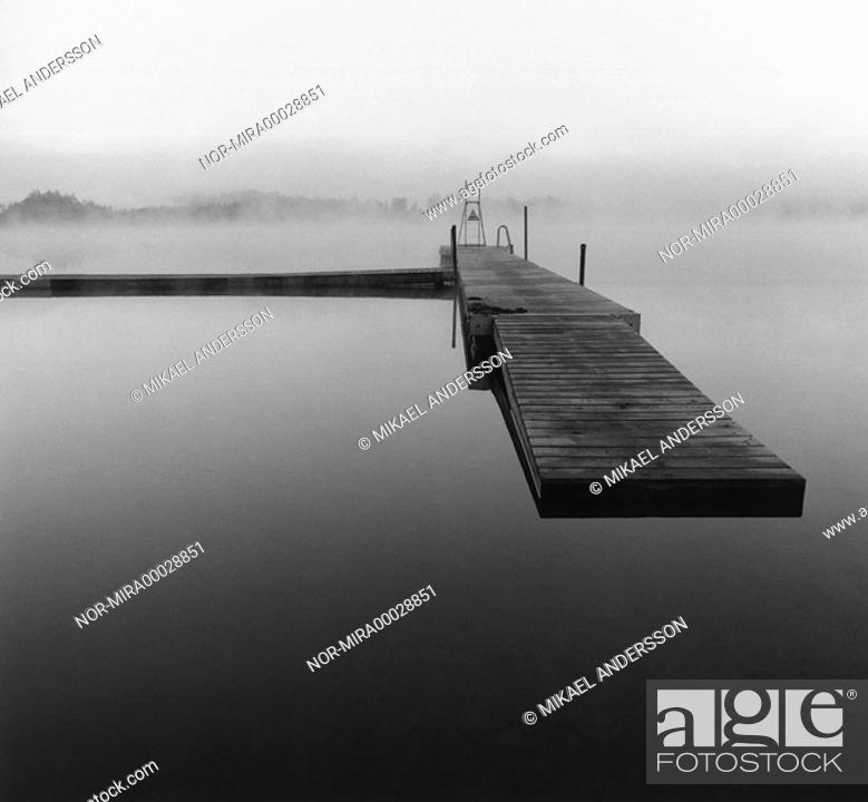Stock Photo: A berth on still water  Sweden.