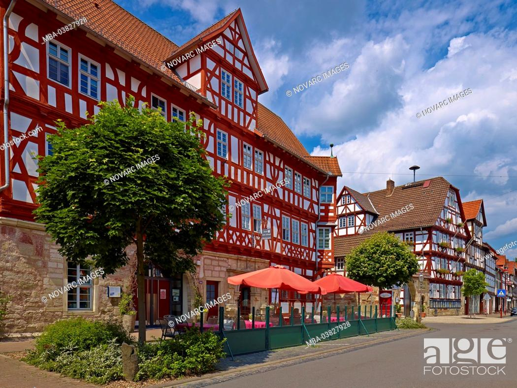 Stock Photo: Hotel Zum Schwan and town hall in Wanfried, Werra-Meiáner-Kreis, Hesse, Germany,.