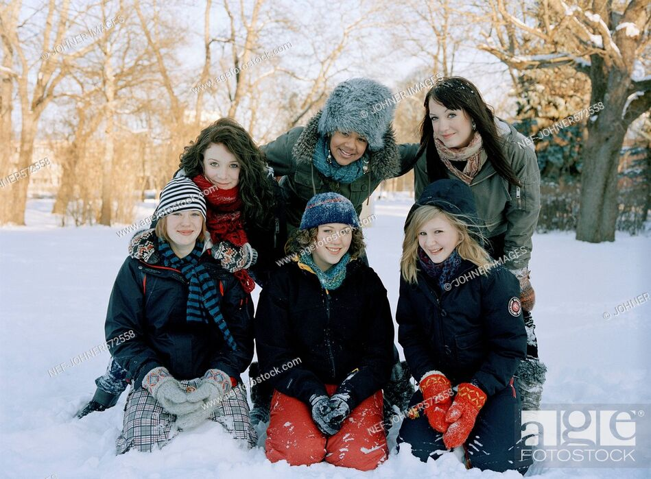 Stock Photo: Teenage girls in the snow, Sweden.