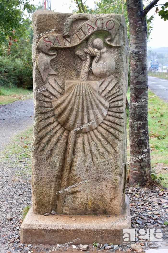 Stock Photo: relief at street border of Way of St james between Brea and Lavacolla, Spain, Galicia, A Corua, Weg von Brea nach Lavacolla.