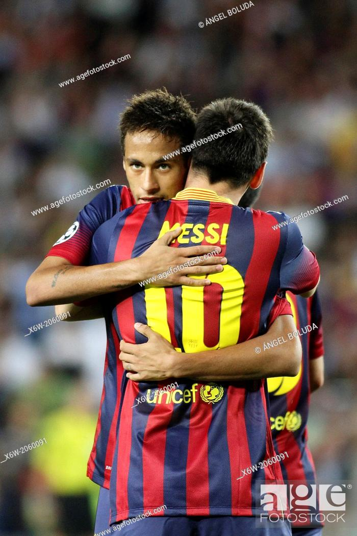 Stock Photo: FC Barcelona. Messi and Neymar in action.