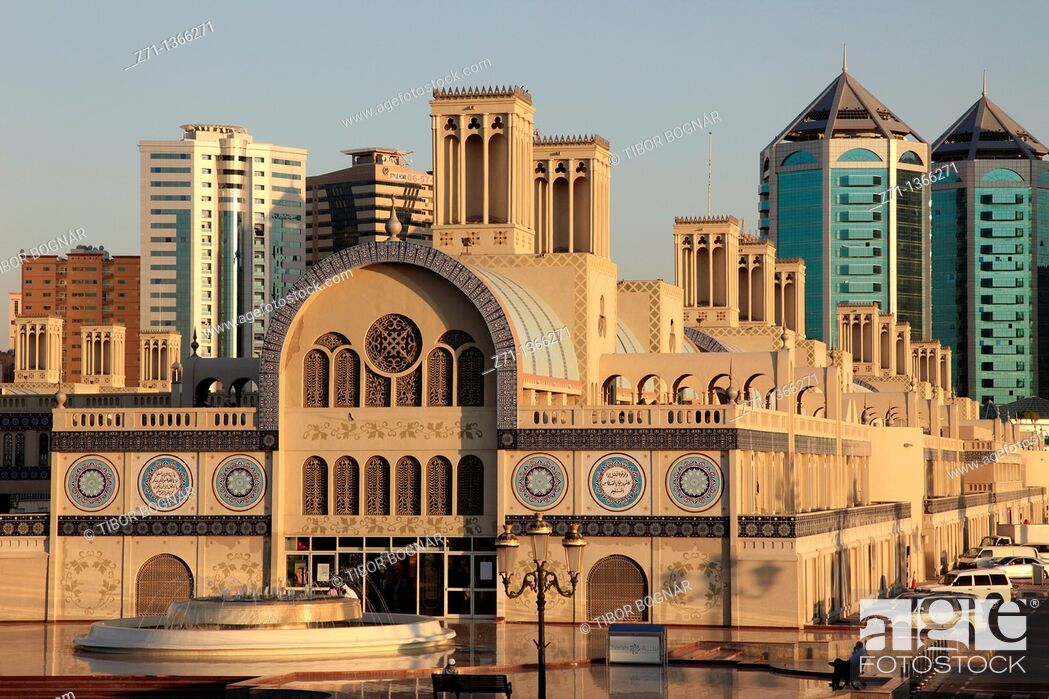 Stock Photo: United Arab Emirates, Sharjah, Central Souq, skyline,.