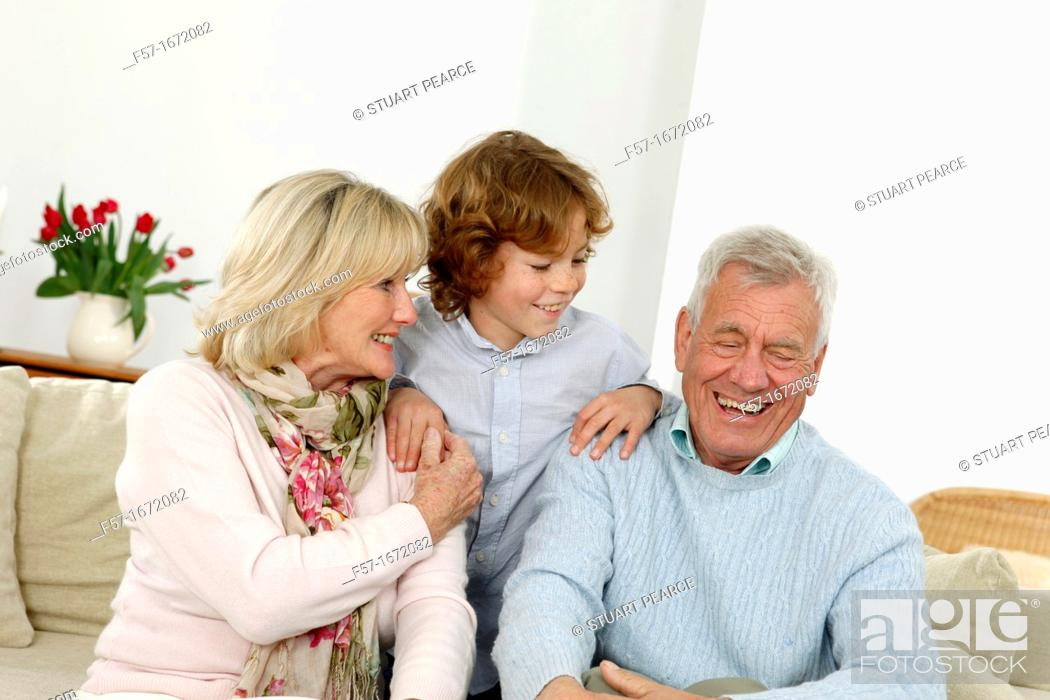 Stock Photo: Grandparents and grandson.