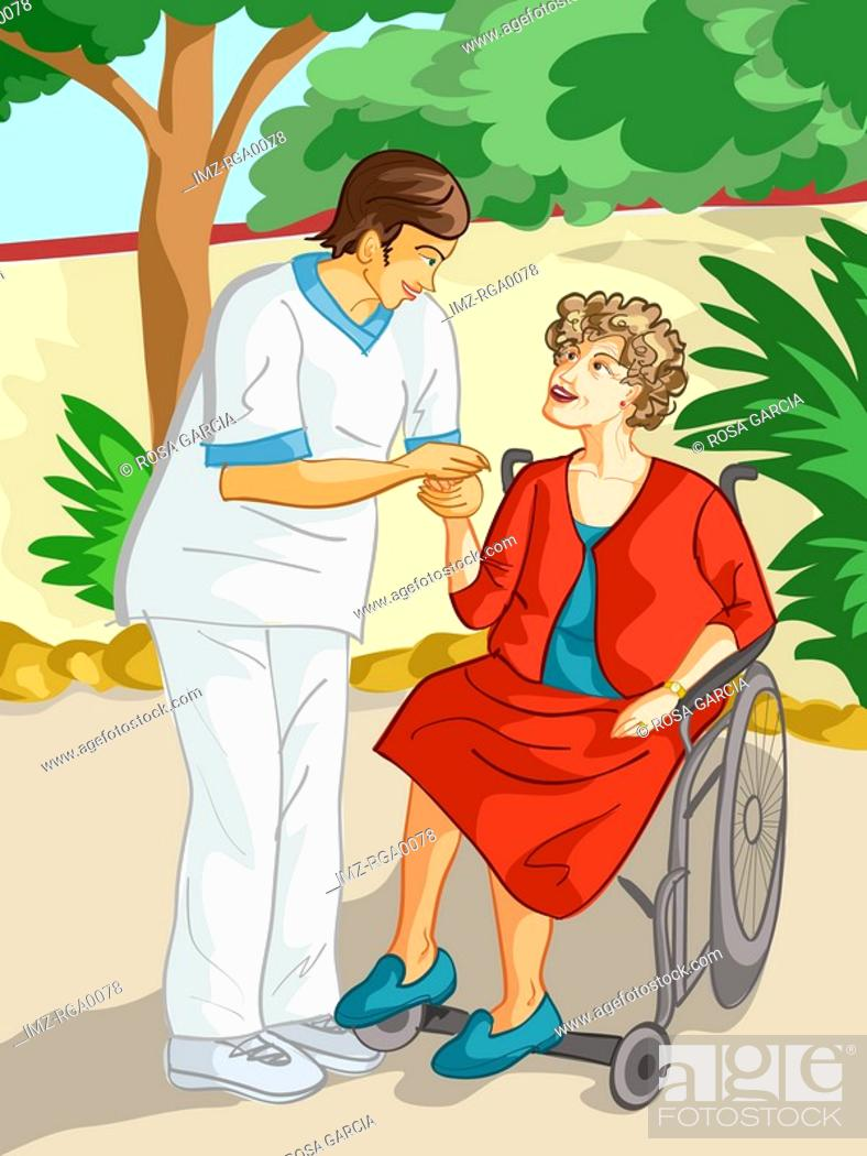 Stock Photo: A health care worker comforting an elderly woman in a wheel chair.