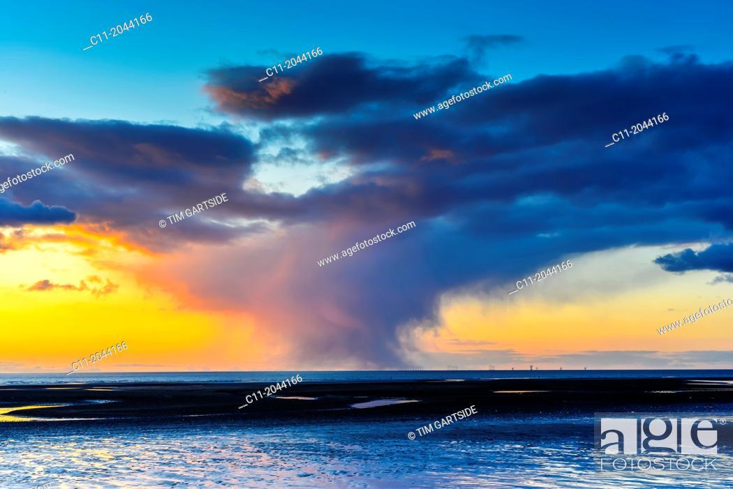 Stock Photo: sunset, cleveleys, lancashire, england, uk, europe.