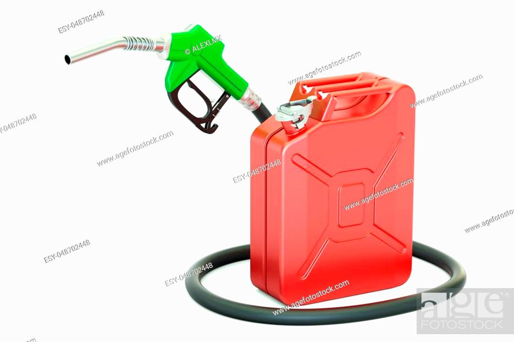 Stock Photo: fuel pump nozzle with jerrycan, 3D rendering isolated on white background.