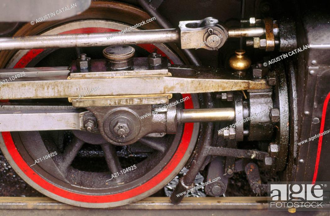 Stock Photo: Steam locomotive, wheel detail. Mariefred, Sweden.