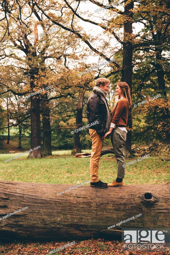 Stock Photo: Young couple in love holding hands on a tree trunk in an autumnal park.