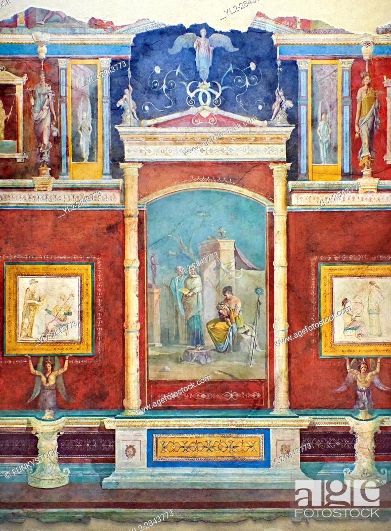 Imagen: Roman fresco wall decorations of Bedroom B of the Villa Farnesia, Rome. Museo Nazionale Romano ( National Roman Museum), Rome, Italy. .