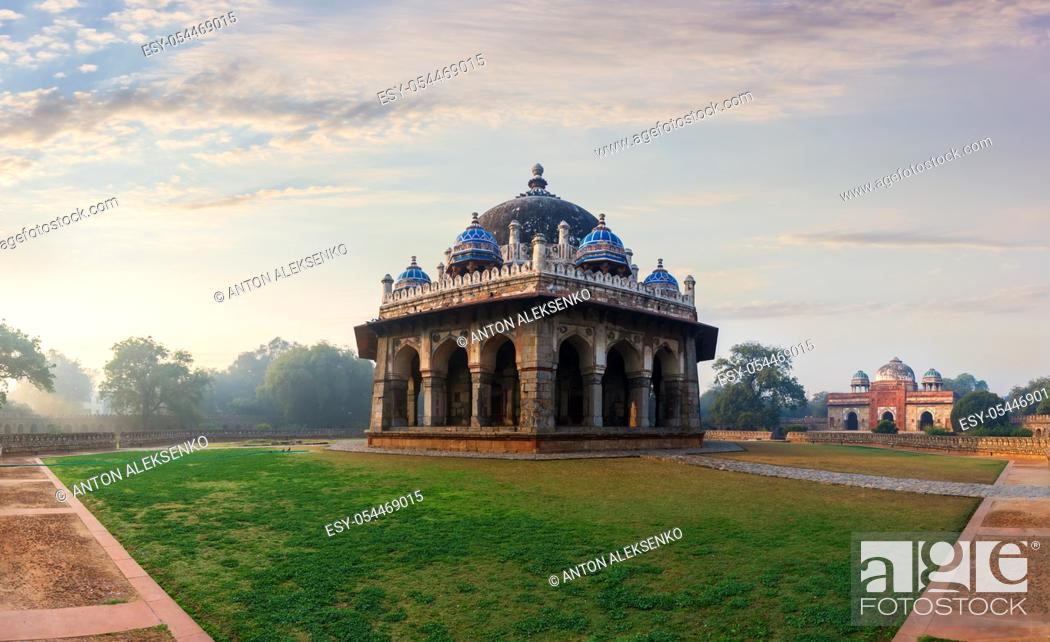Stock Photo: Isa Khan's Tomb in the morning light of Delhi, India.