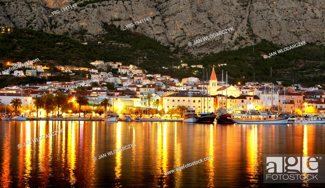 Stock Photo: Croatia - Makarska Riviera, Makarska Village by night, Dalmatia, Croatia.