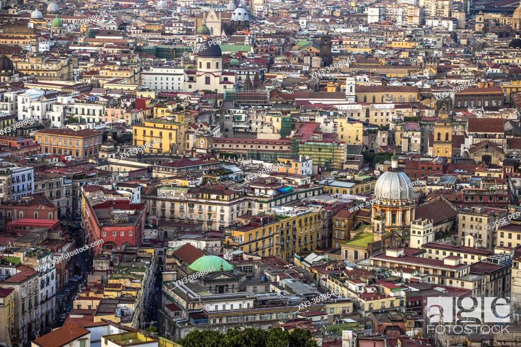 Imagen: Views of Naples from Belvedere Di San Martino, Basilica of the Holy Spirit seen from, Naples city, Campania, Italy, Europe.