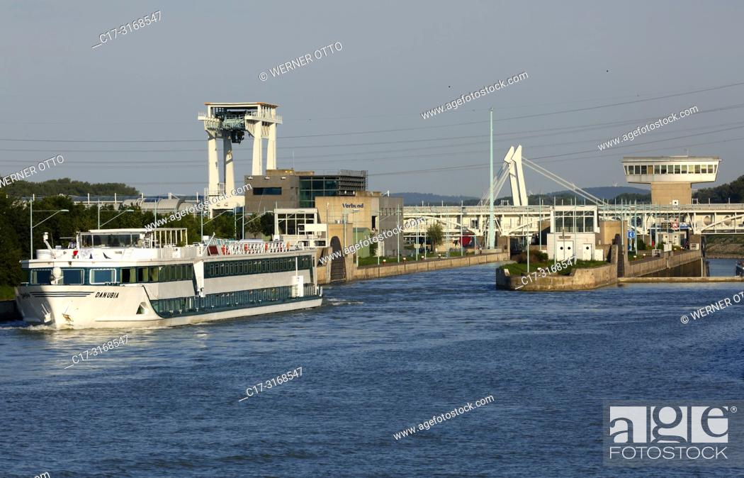 Stock Photo: Vienna, Wien, Austria, A-Vienna, Danube, Federal Capital, Leopoldstadt, power station Freudenau, Danube power plant, run-of-the-river power plant, lock.