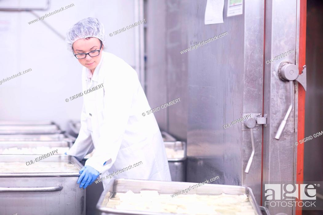 Factory worker working in food production factory, Stock