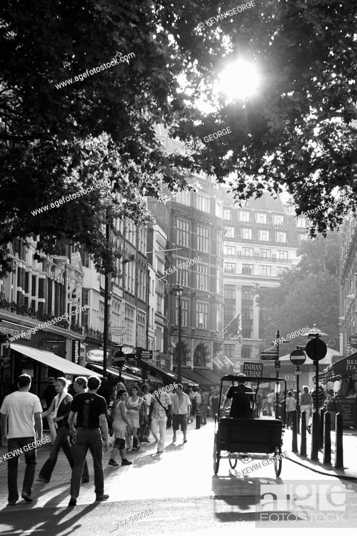 Stock Photo: Street Scene near Lecester Square, London, England, UK.