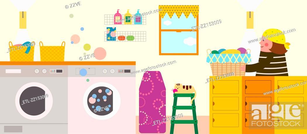 Stock Photo: Laundry interior.