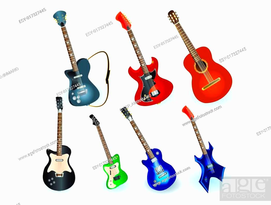 Stock Vector: acoustic and electric guitars set.