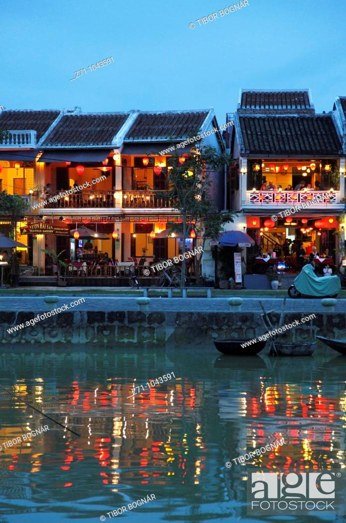 Stock Photo: Vietnam, Hoi An, Thu Bon River, old houses at night.