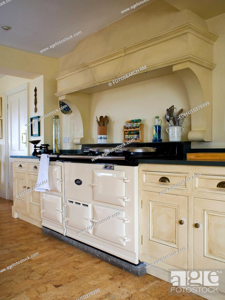 Cream Double Aga Oven In Country Kitchen Stock Photo Picture And