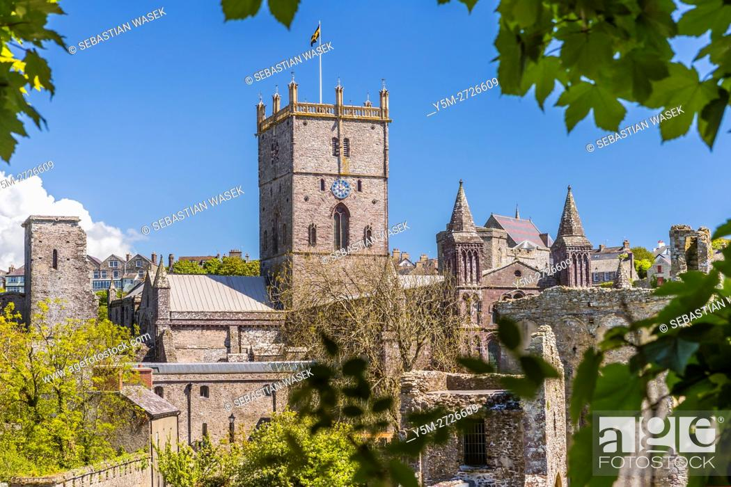 Stock Photo: St Davids Cathedral seen from Bishop'S Palace, Pembrokeshire Coast National Park, Pembrokeshire, Wales, United Kingdom, Europe.