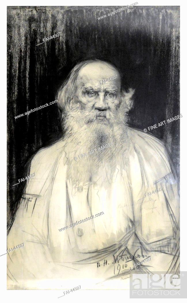 Stock Photo: Portrait of the author Count Lev Nikolayevich Tolstoy (1828-1910) by Meshkov, Vasili Nikitich (1868-1946)/Black chalk on paper/Realism/1910/Russia/State Museum.