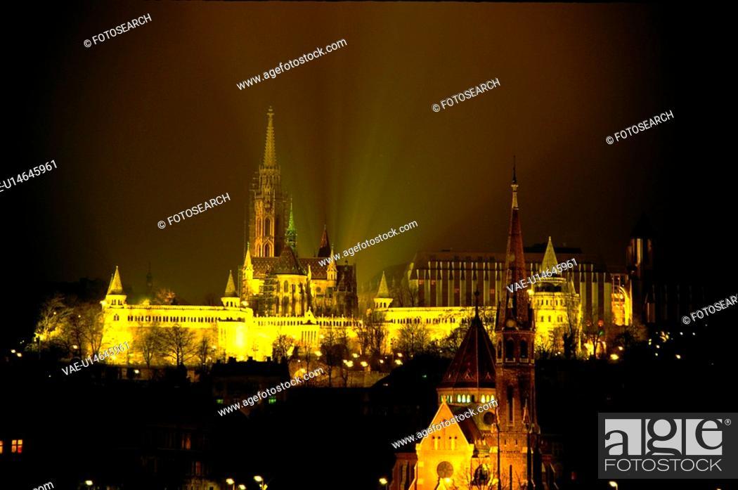 Stock Photo: night view, scene, Budapest, Hungary, europe, tourist resort.