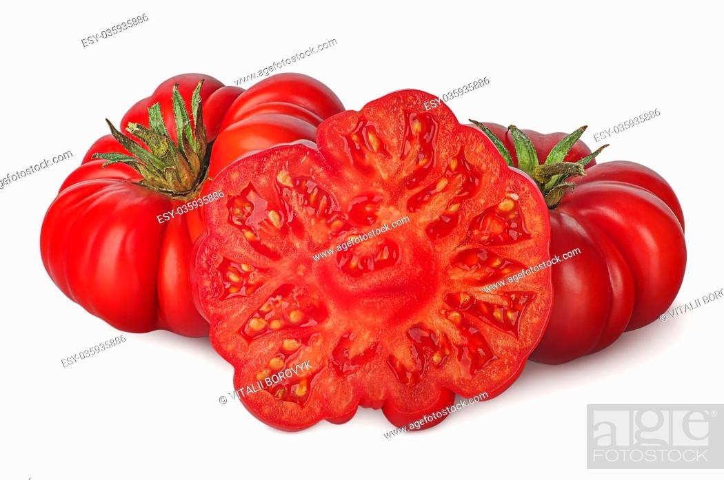 Photo de stock: Whole and part of heirloom tomatoes isolated on white background.