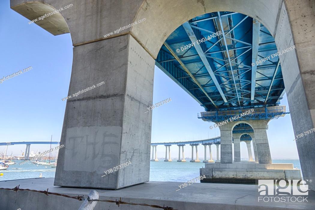 Stock Photo: View under Coronado Bridge on San Diego Bay in Southern California.
