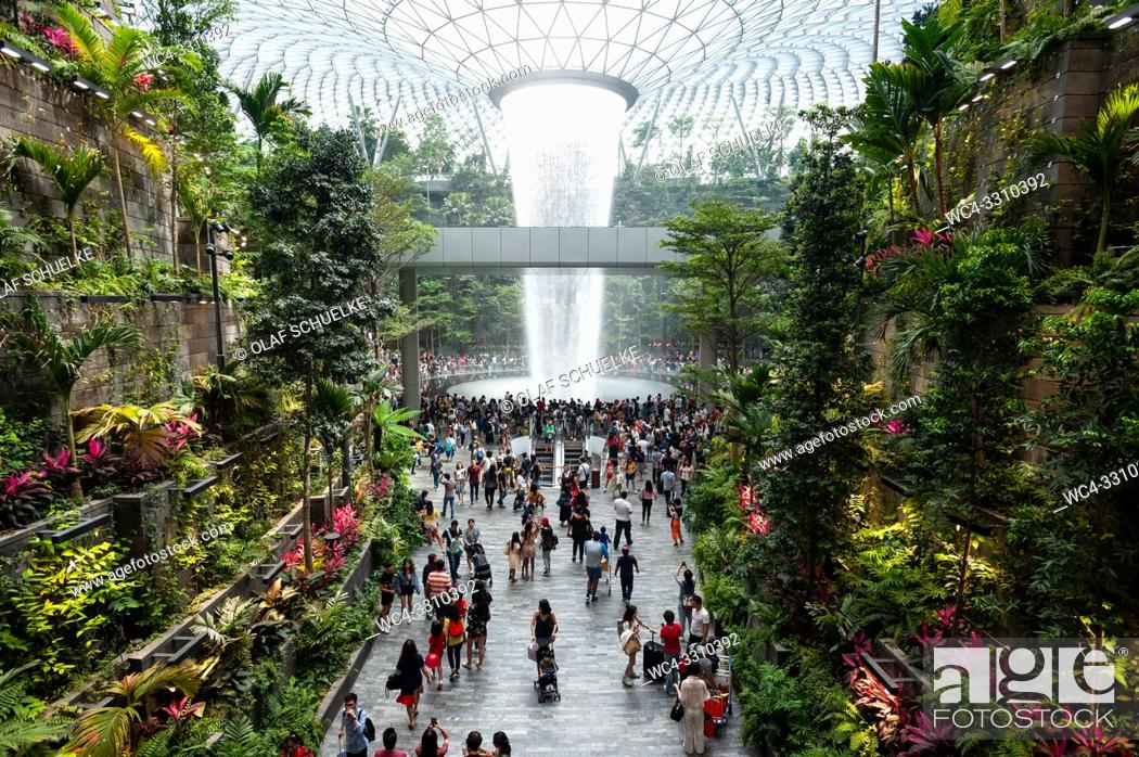 Imagen: Singapore, Republic of Singapore, Asia - Interior view of the new Jewel Terminal at Changi Airport with indoor waterfall and Forest Valley.