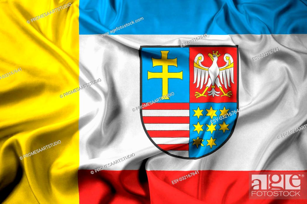 Stock Photo: Waving Flag of Swietokrzyskie Voivodeship, Poland.