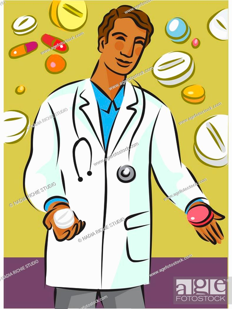 Stock Photo: Doctor holding two different types of pills.