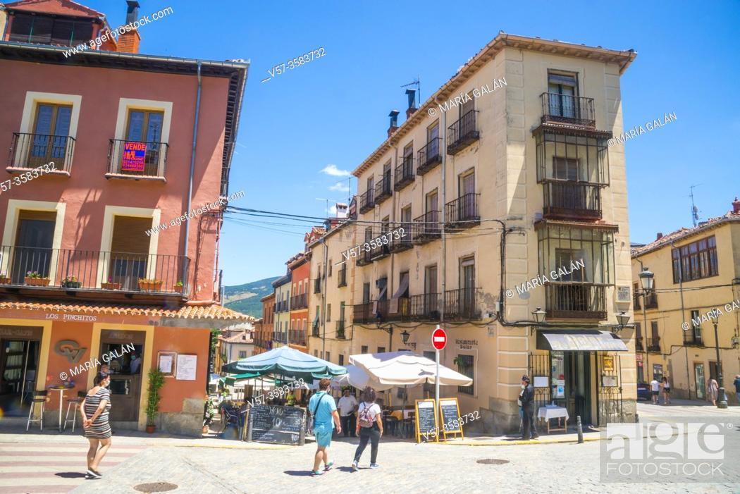 Stock Photo: Street. La Granja de San Ildefonso, Segovia province, Castilla Leon, Spain.