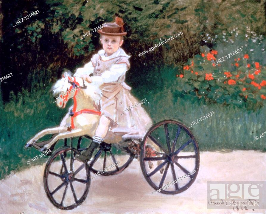 Stock Photo: 'Jean Monet on a mechanical horse', 1872. From a private collection.