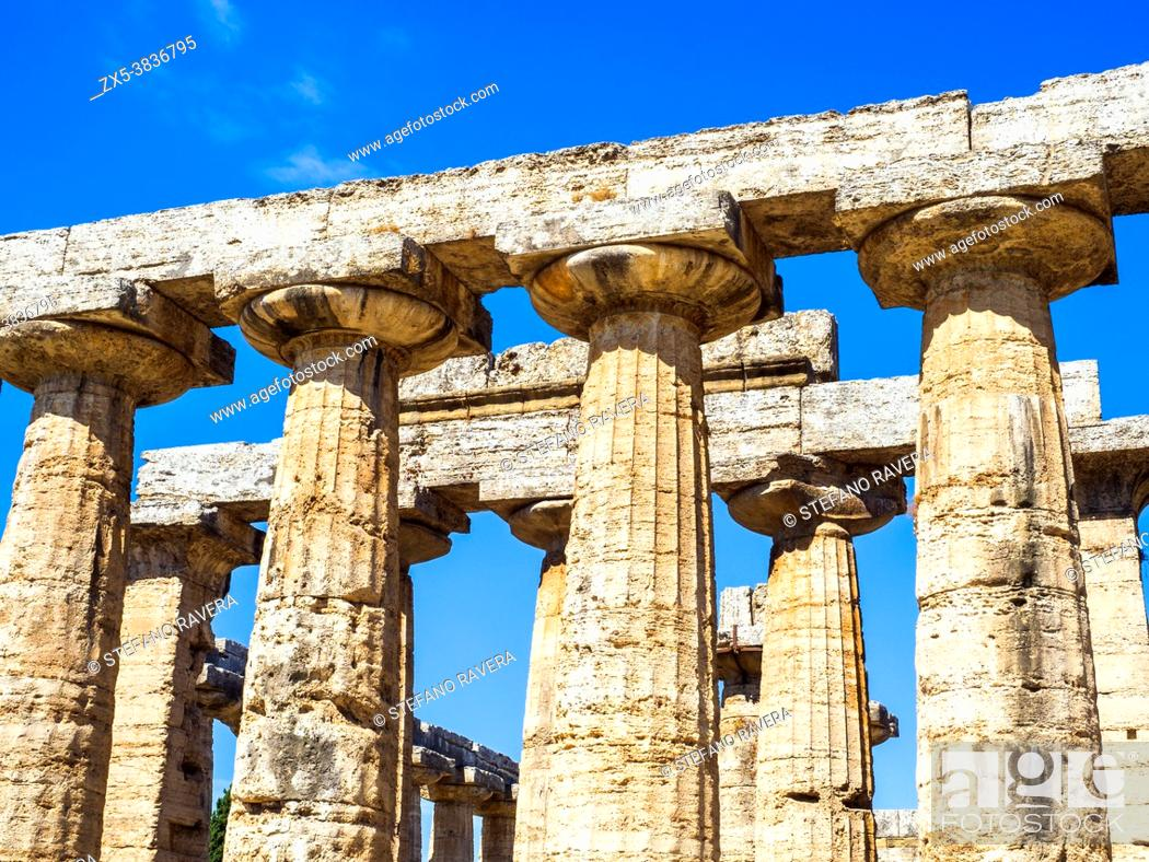 Stock Photo: Detail of the Greek doric style temple of Hera (archaic temple) - Archaeological Area of Paestum - Salerno, Italy.