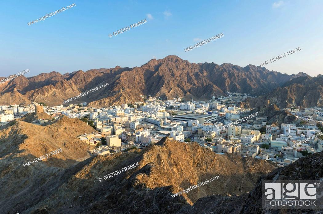 Stock Photo: Sultanate of Oman, gouvernorate of Mascate, Muscat (or Mascate), Mutrah (or Matrah) harbour at the foot of the Mount Hajar.