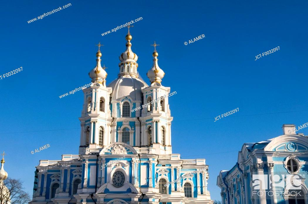 Stock Photo: Russia, St Petersburg, Smolny cathedral.