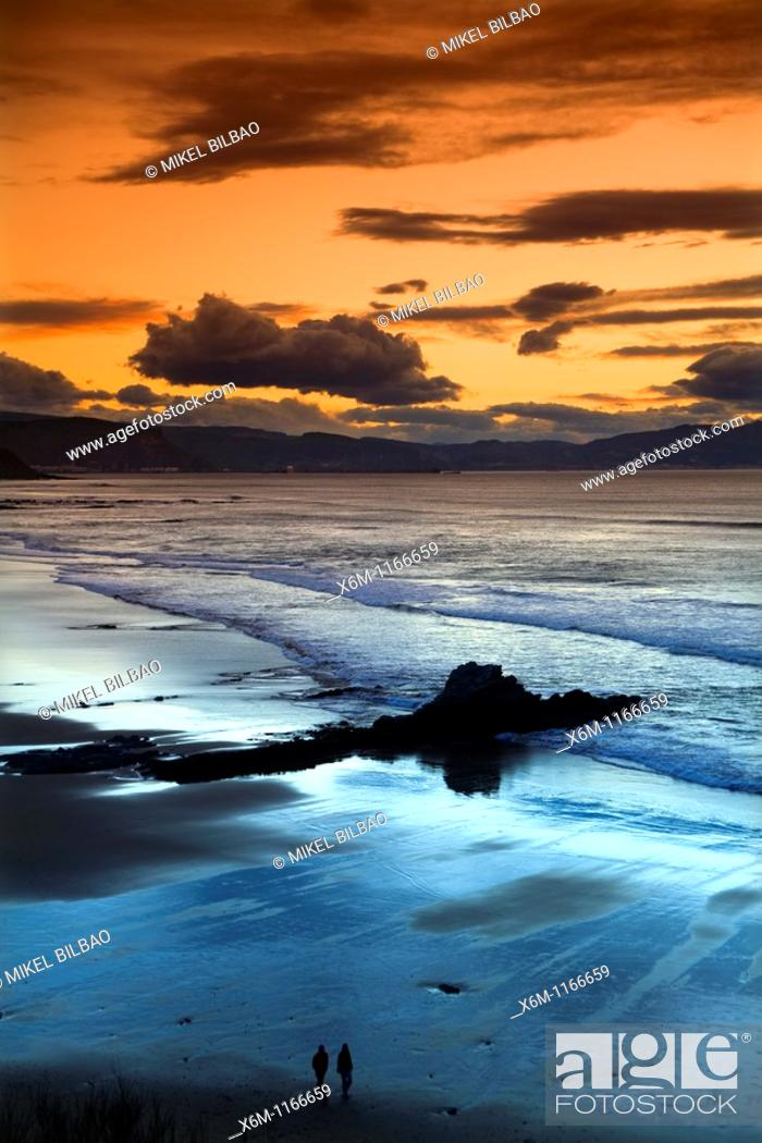 Stock Photo: Arriatera-Atxabiribil beach at sunset  Sopelana, Uribe County, Biscay, Basque Country, Spain, Europe.