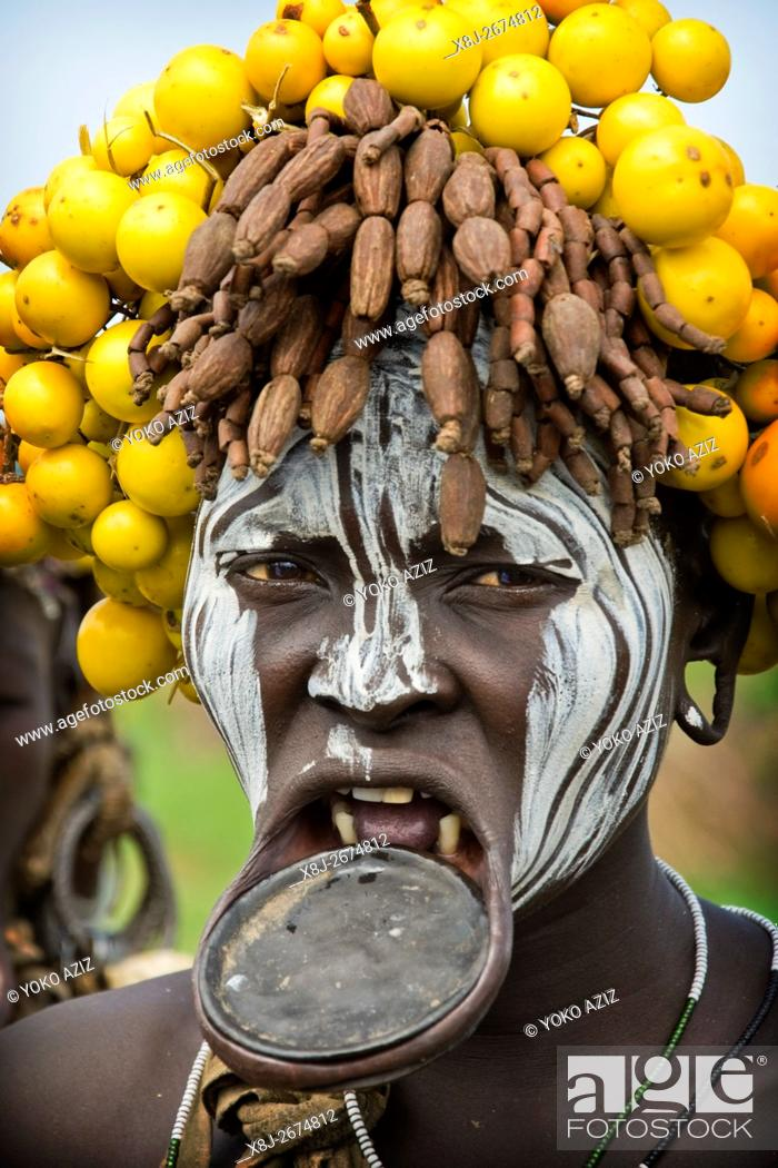 Stock Photo: Mursi tribe, Mago National Park, Ethiopia.