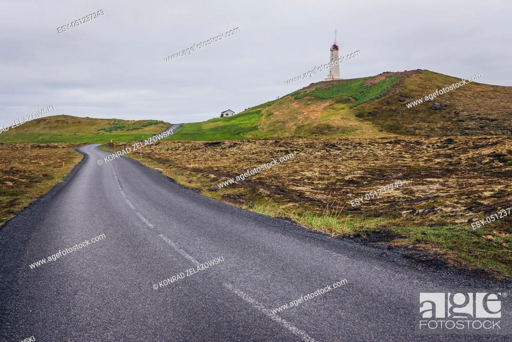 Stock Photo: Road next to Reykjanesviti - the oldest lighthouse in Iceland, located on a Reykjanesskagi - Southern Peninsula.
