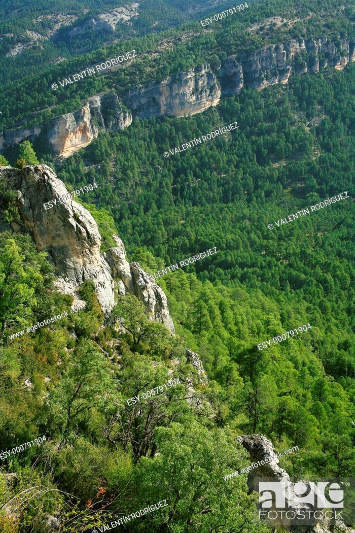 Stock Photo: Hosquillo landscape from the viewpoint of the rock of the Clock. Natural Park of the Serrania de Cuenca.