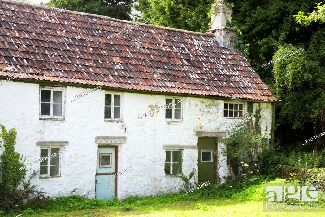 Stock Photo: Delapidated CottagesTintern Monmouthshire Wales.