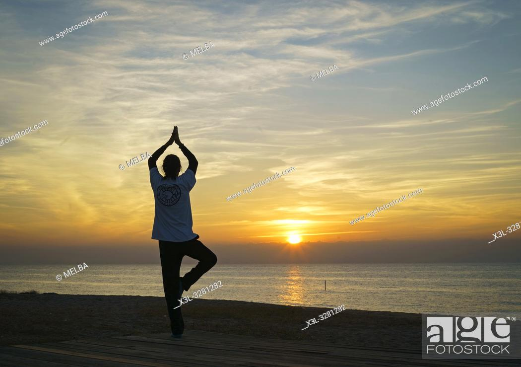 Stock Photo: Yoga. Pineda de Mar. Barcelona. Catalunya. Spain.